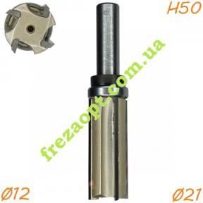 Прямая кромочная фреза Глобус® 1021 Z4 D21 H50 d12 L100