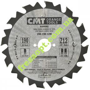 Пильный диск CMT 290.190.12M (190x30x2,6x1,6) Z12 (Продольное пиление)