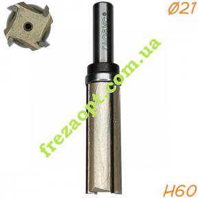 Прямая кромочная фреза  Глобус® 1021 Z4 D21 H60 d12 L108
