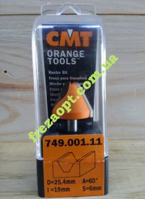 Концевая фреза для гравировки и надписей CMT 749.001.11 60 (25,4x19x6x51)