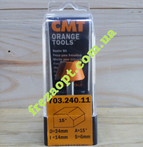 Концевая кромочная фреза CMT 703.240.11 15° (Ø24x14xØ6x45,5)
