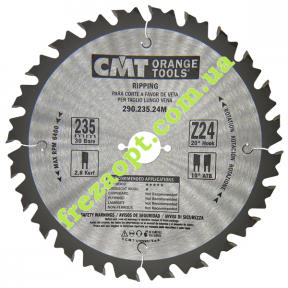 Пильный диск для продольного пиления CMT 290.235.24M (Ø235*2.8*2.7*Ø30) Z24