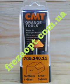 Концевая кромочная фреза CMT 705.240.11 45° (Ø25x8xØ6x41)